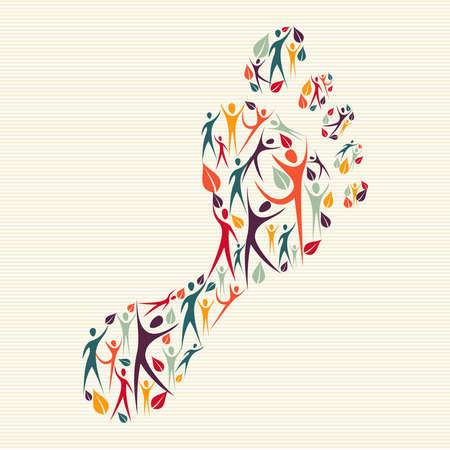 Ethnische Familienkonzept Fußabdruck Form hergestellt und mit menschlichen Silhouetten. Datei für einfache Handhabung und individuelle Färbung geschichtet.