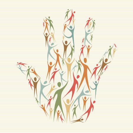 Ethnische Familienkonzept Handform menschliche Silhouetten. Datei für einfache Handhabung und individuelle Färbung geschichtet. Standard-Bild - 20633078