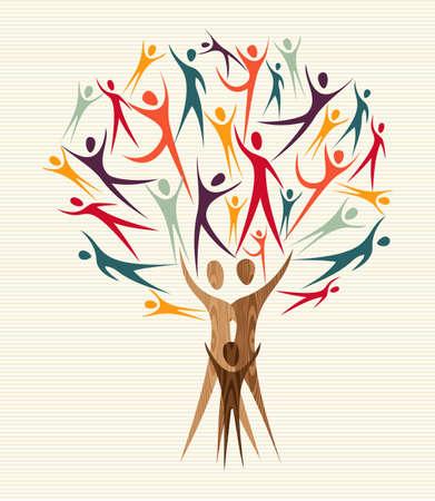 arbol p�jaros: Familia formas humanas colorido �rbol de dise�o. archivo de capas para la manipulaci�n f�cil y colorante de encargo. Vectores