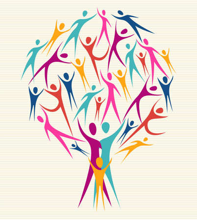 Family human shapes colorful design tree.  file layered for easy manipulation and custom coloring.