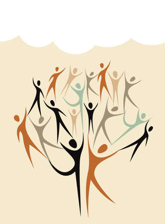 Family human shapes colorful  concept tree.  file layered for easy manipulation and custom coloring. Vector