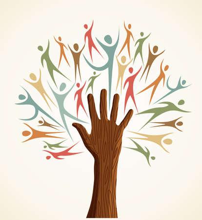 Famille formes humaines de la main coloré d'arbre conceptuel. fichier en couches pour une manipulation facile et la coloration personnalisée. Banque d'images - 20633104