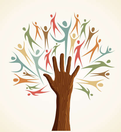 Family human shapes colorful hand conceptual tree.  file layered for easy manipulation and custom coloring. Çizim