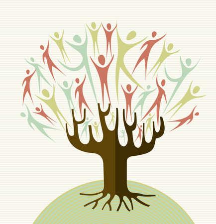 arbol raices: Familia formas humanas árbol conceptual. archivo de capas para la manipulación fácil y colorante de encargo.