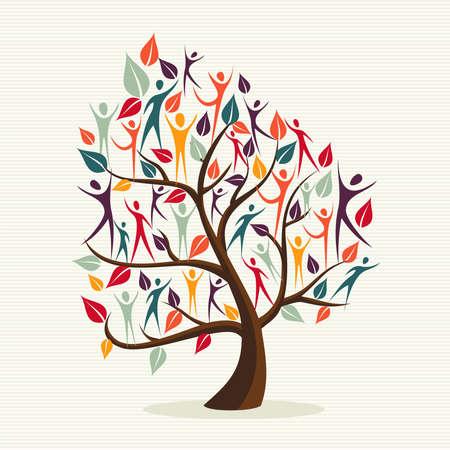 家族の人間形、カラフルな葉の概念的なツリー。ファイルの簡単な操作とカスタム着色層。  イラスト・ベクター素材
