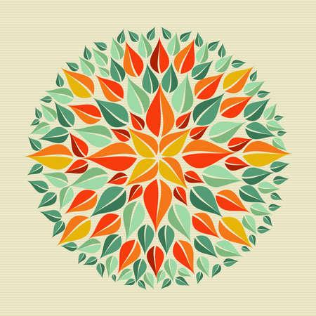 원 잎 모양 만다라 디자인. 쉬운 조작 및 사용자 지정 색상 계층화 된 파일입니다.