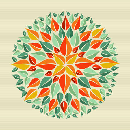 Circle leaf shape mandala design. file layered for easy manipulation and custom coloring. Vector