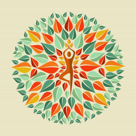 葉円の人体形状のマンダラのデザイン。ファイルの簡単な操作とカスタム着色層。  イラスト・ベクター素材