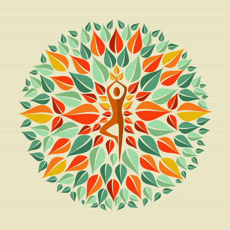 whimsical: Leaves circle human shape mandala design. file layered for easy manipulation and custom coloring. Illustration