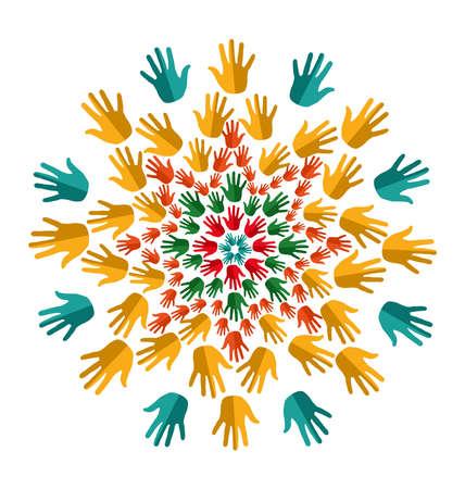 Hand circle human shape mandala design. file layered for easy manipulation and custom coloring. Stock Vector - 20633168