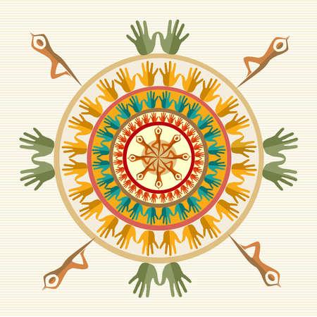 fanciful: Hand circle human shape mandala design.  file layered for easy manipulation and custom coloring.