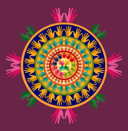 craft man: Hand circle human shape mandala design set.  file layered for easy manipulation and custom coloring.