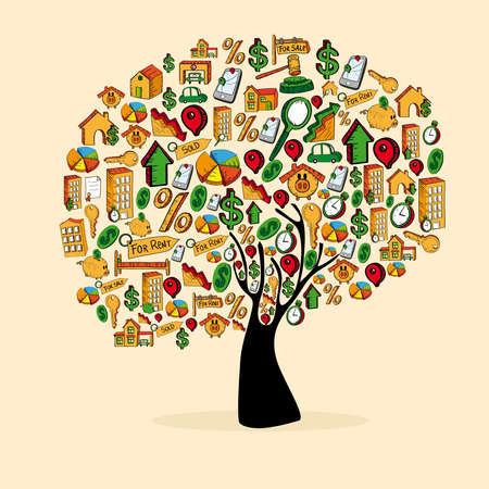 icone immobilier: Immobilier arbre de jeu d'ic�nes dans la silhouette isol� sur blanc. fichier en couches pour une manipulation facile et la coloration personnalis�e. Illustration