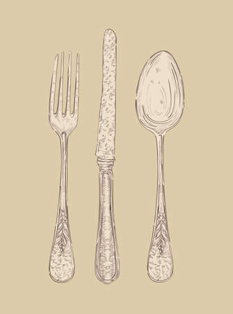 silver cutlery: Hand drawn vintage silver cutlery set Fork, knife and spoon.  file layered for easy manipulation and custom coloring Illustration
