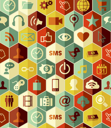 smart phone icons seamless pattern  file layered for easy manipulation and custom coloring. Vector