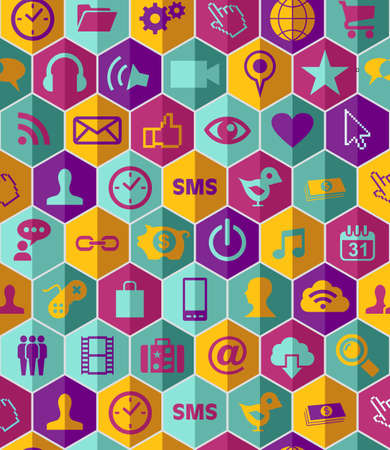 Smart phone app icon set seamless pattern background. file layered for easy manipulation and customisation.   Vector