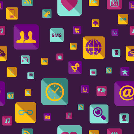 Colorful social media network app icon pattern. This illustration is layered for easy manipulation and custom coloring Stock Vector - 20633120