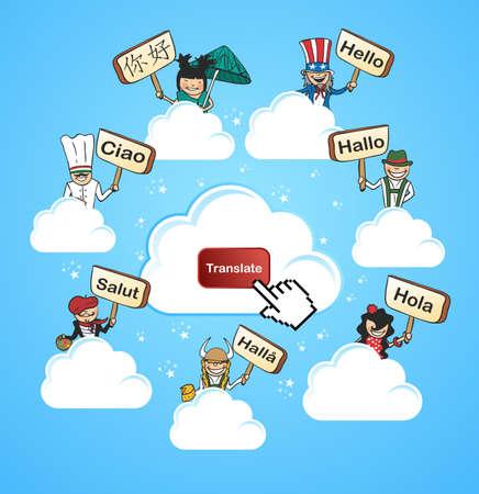 multilingual: Global networks online translation app concept background.  illustration layered for easy editing.