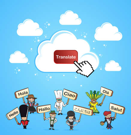 Mobile devices internet translation software application concept.  illustration layered for easy editing. Vector