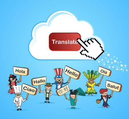 Cloud computing translation concept background. illustration layered for easy editing.