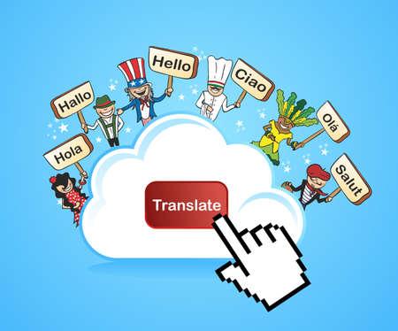 translate: Gente Global Internet Traducci�n concepto de fondo. ilustraci�n en capas para facilitar la edici�n.