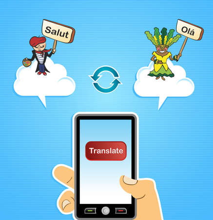 Hand with smart phone: Cloud computing translation French Portuguese app concept background.  illustration layered for easy editing. Stock Vector - 20633372