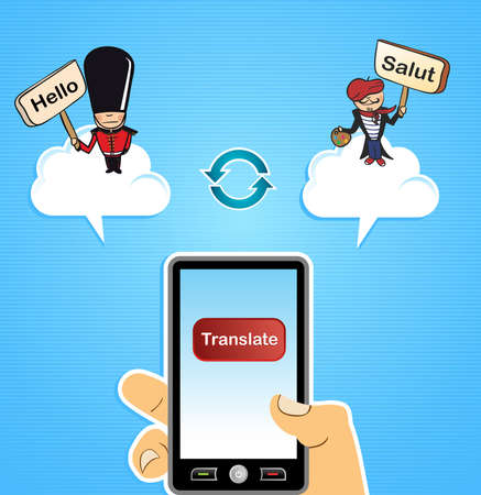 english: Hand with smart phone: global people English French translation concept background.  illustration layered for easy editing.