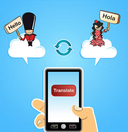 translator: Human hand with mobile smart phone internet translation English to Spanish and vice versa app background. illustration layered for easy editing.