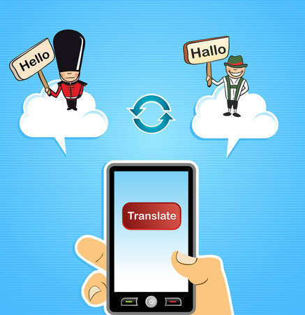 Hand with smart phone: global internet translation German into English and vice versa concept background.  illustration layered for easy editing. Stock Vector - 20633333