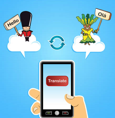 Global internet translate English Portuguese app concept background.  illustration layered for easy editing. Stock Vector - 20633365
