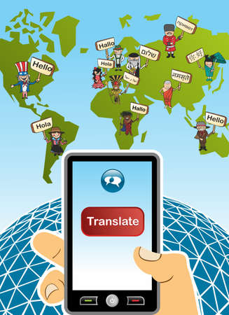 translate: World map and hand with smartphone translation concept background. illustration layered for easy editing.