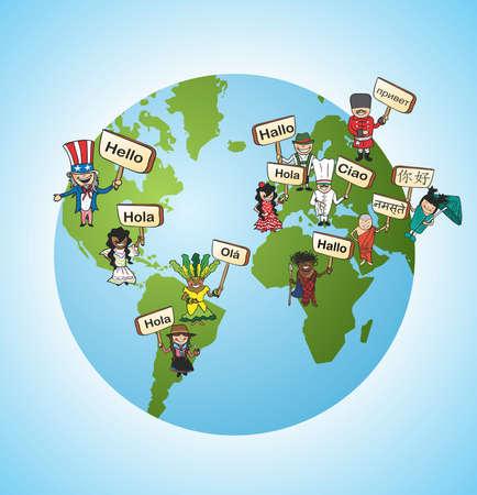 Mundial de la diversidad de idiomas en línea Traducción concepto de fondo. ilustración en capas para facilitar la edición. Ilustración de vector