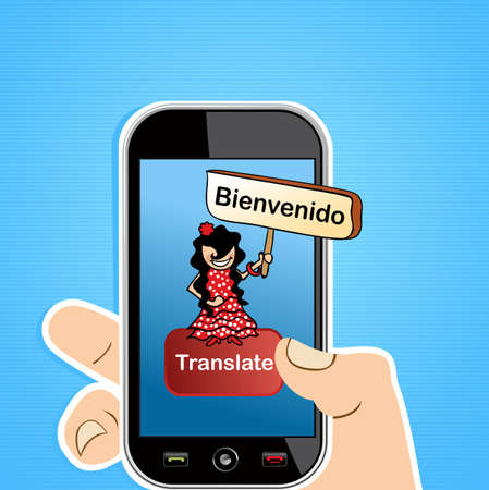 teleworker: Hand with smart phone spanish translation concept background.  illustration layered for easy editing.