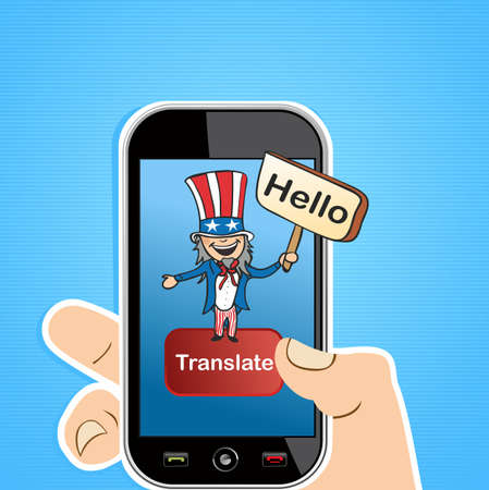 Smart Phone uncle Sam man sign translation concept background.  illustration layered for easy editing. Vector
