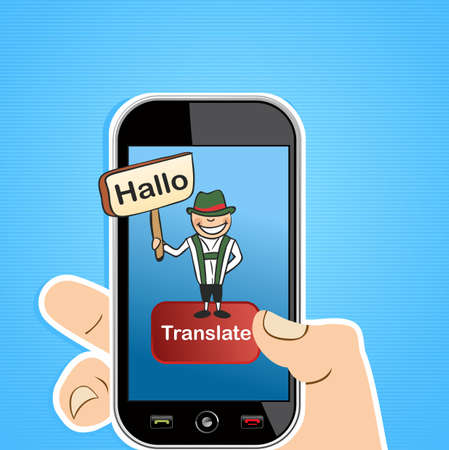 teleworker: Hand holding a smart phone with German man and sign translation software application.  illustration layered for easy editing.