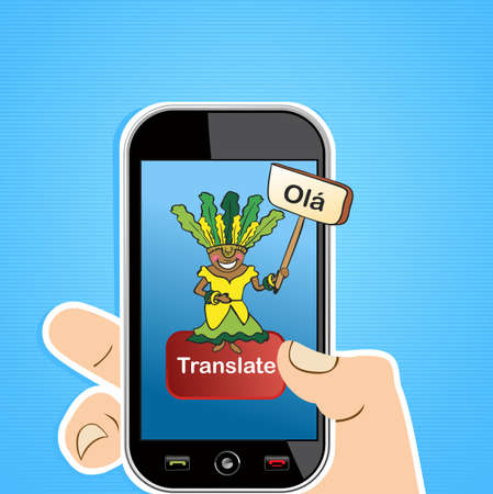 Hand with mobile device: Internet portuguese translation concept background. illustration layered for easy editing. Stock Vector - 20633329