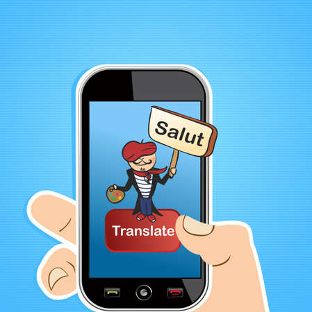 translation: Hand holding a smart phone with French man and sign translation software application.illustration layered for easy editing.