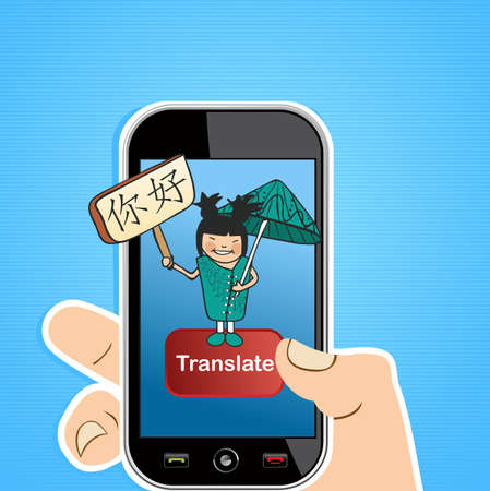 Hand with mobile device using an online Chinese translation app. illustration layered for easy editing. Stock Vector - 20633323