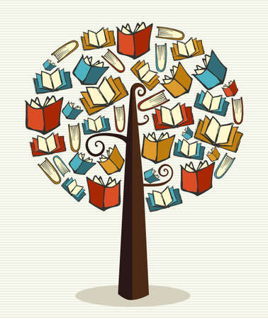 Global education concept tree made books.  file layered for easy manipulation and custom coloring.    Vector