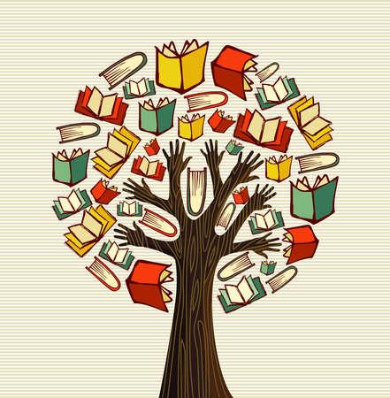 arbol de la sabiduria: Concepto de la educaci�n de �rbol mano libros globales. archivo de capas para la manipulaci�n f�cil y colorante de encargo. Vectores