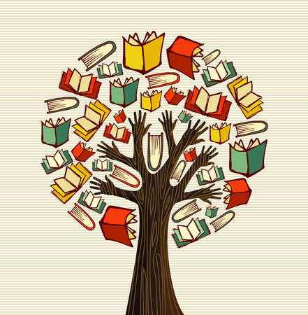 palm reading: Global education concept tree hand books.  file layered for easy manipulation and custom coloring.   Illustration