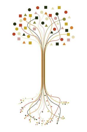 bomen zwart wit: Abstract trendy boom silhouet lijnen geïsoleerd ontwerp. bestand gelaagd voor eenvoudige manipulatie en aangepaste kleuren.
