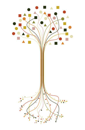 grunge shape: Abstract trendy tree silhouette lines isolated design. file layered for easy manipulation and custom coloring. Illustration