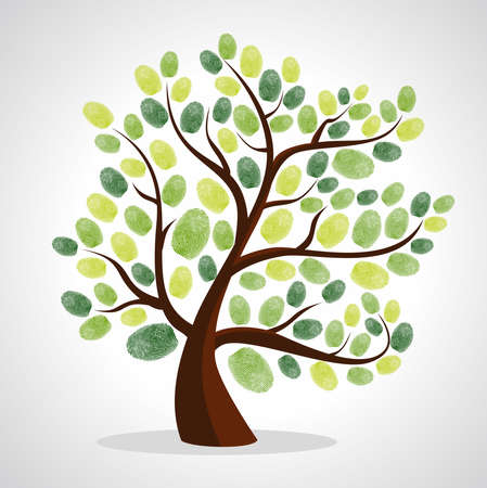 Green diversity tree finger prints illustration. file layered for easy manipulation and custom coloring.