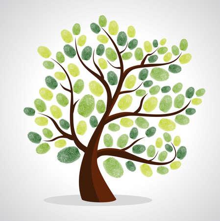 Groene diversiteit boom vingerafdrukken illustratie. bestand gelaagd voor eenvoudige manipulatie en aangepaste kleuren.