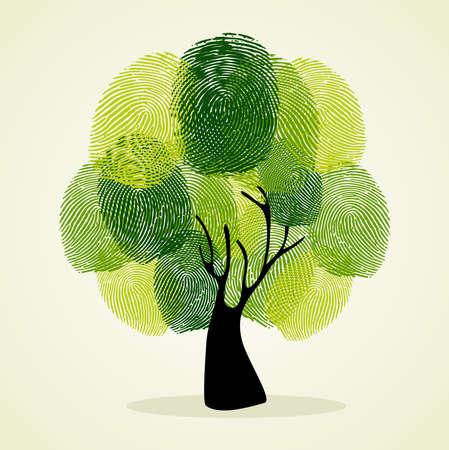 Aller arbre identité verte empreintes digitales illustration. déposer en couches pour une manipulation aisée et la coloration personnalisée. Vecteurs