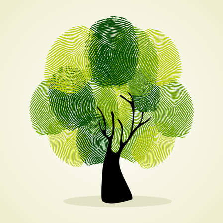 community help: Go Green identity tree finger prints illustration.  file layered for easy manipulation and custom coloring.