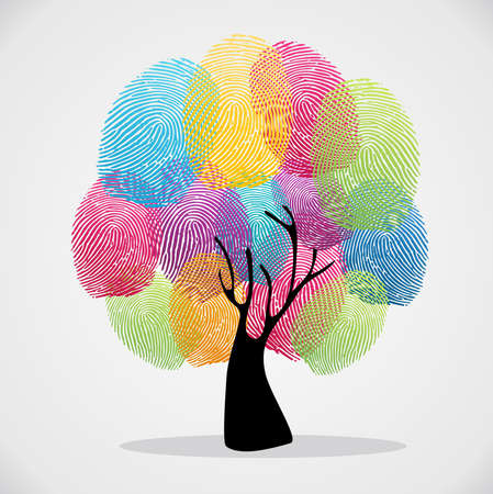 charity: Diversity color tree finger prints illustration background set.  file layered for easy manipulation and custom coloring.