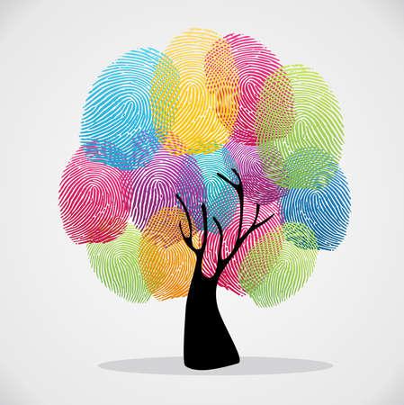Diversity color tree Fingerabdrücke Illustration Hintergrund Set. Datei für einfache Handhabung und individuelle Färbung geschichtet. Vektorgrafik