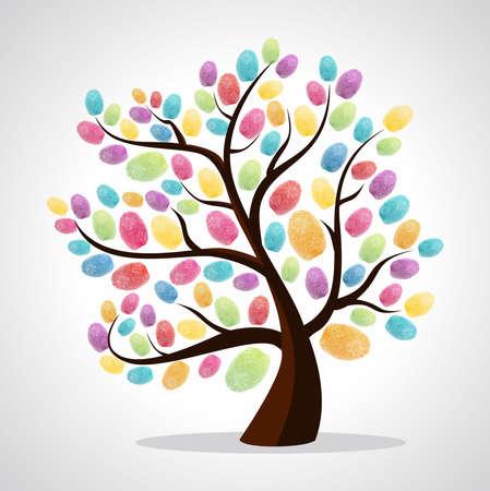 diversidad: Diversidad dedo árbol de colores imprime ilustración. archivo de capas para la manipulación fácil y colorante de encargo. Vectores